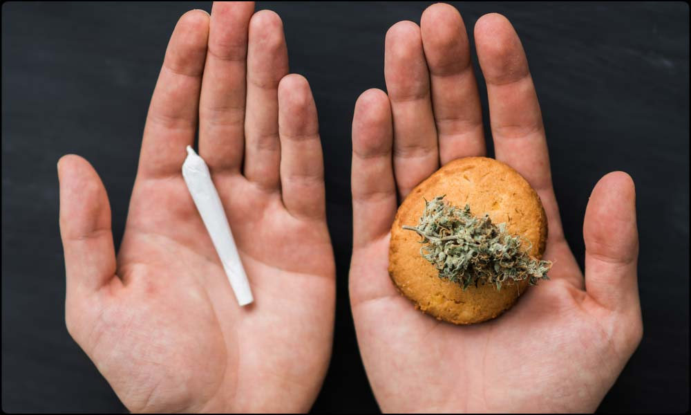edible and joint in hands