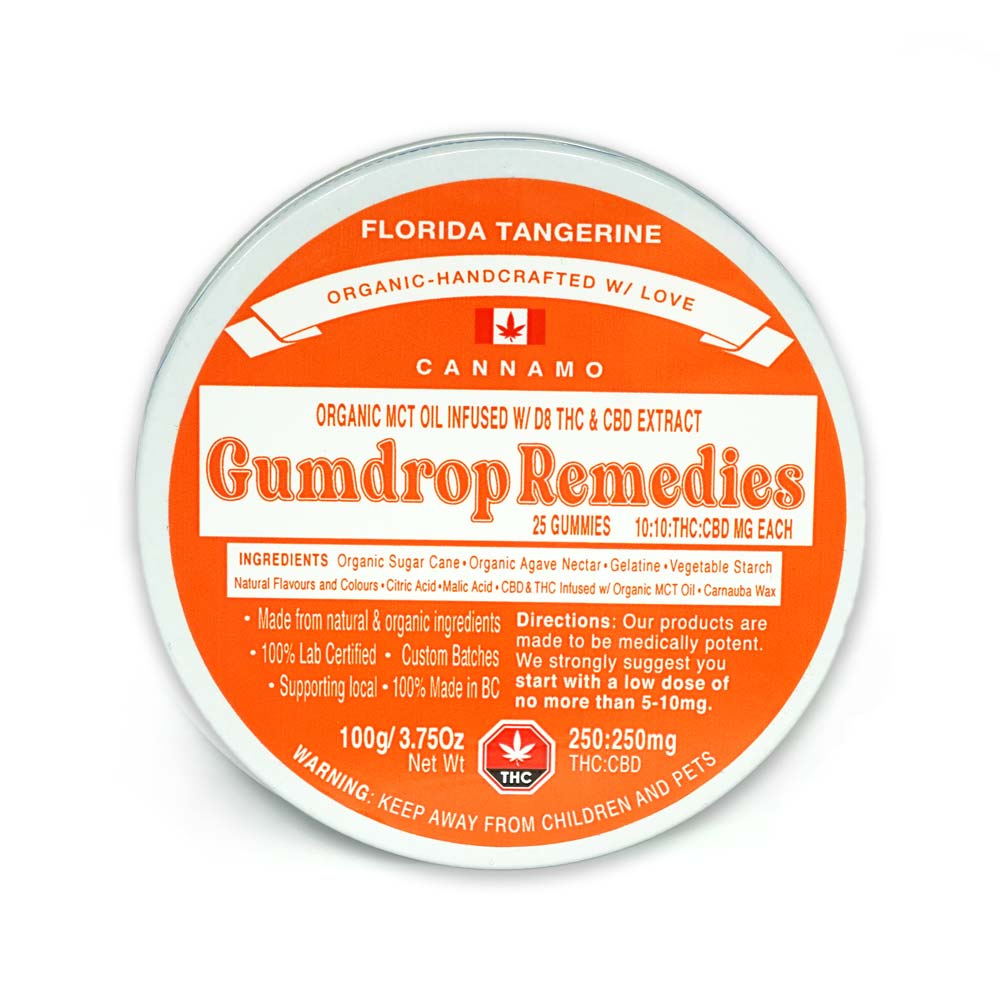 Cannamo Gumdrop Remedies Florida Tangerine 250mg of THC and 250mg of CBD