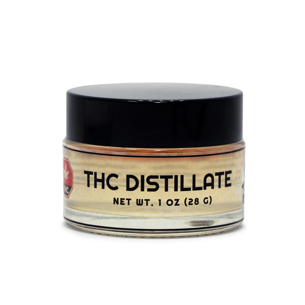 thc distillate in glass container